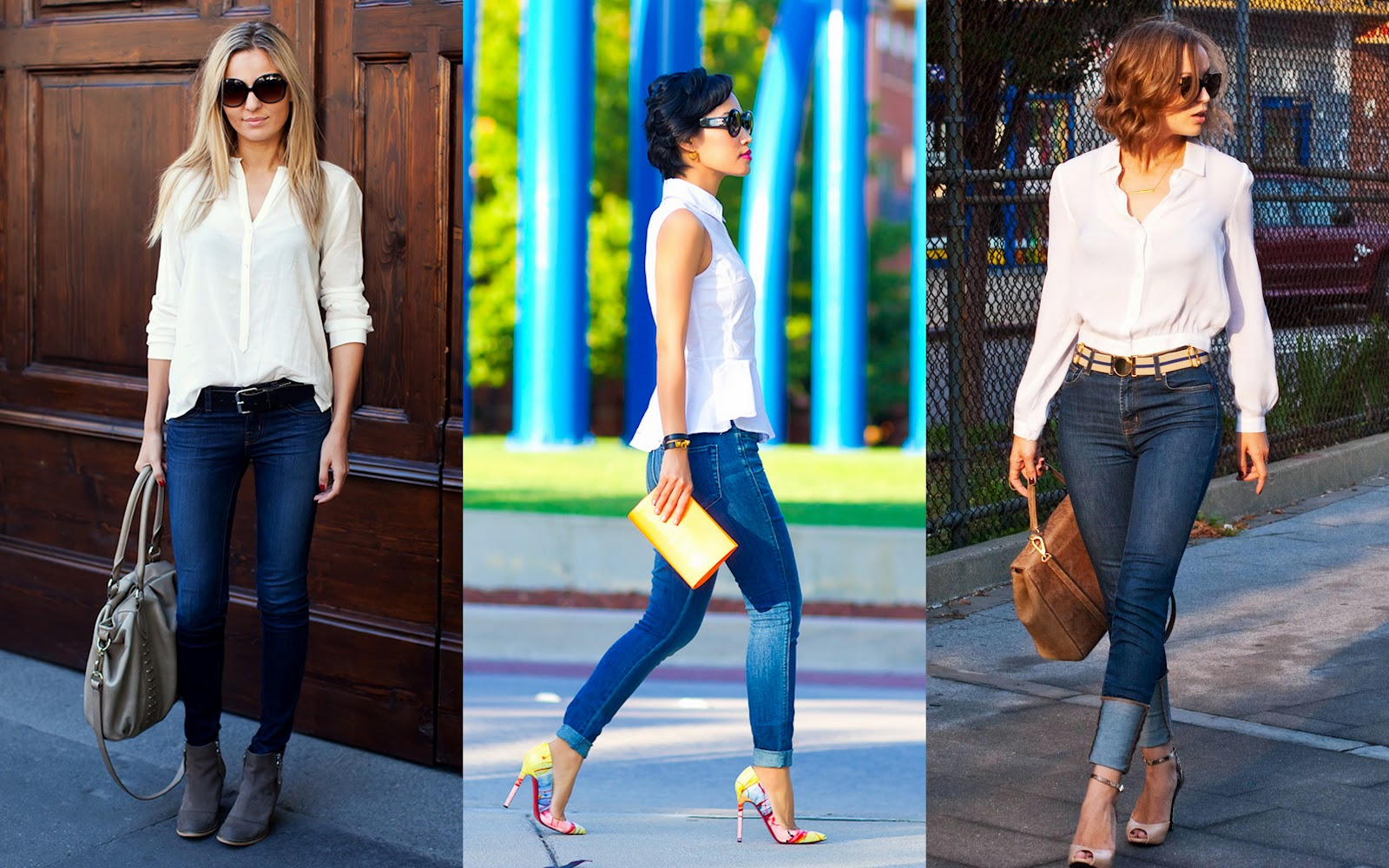 Blue jeans white shirt style