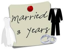 Third Wedding Anniversary.Marriage Anniversary Rising Colors