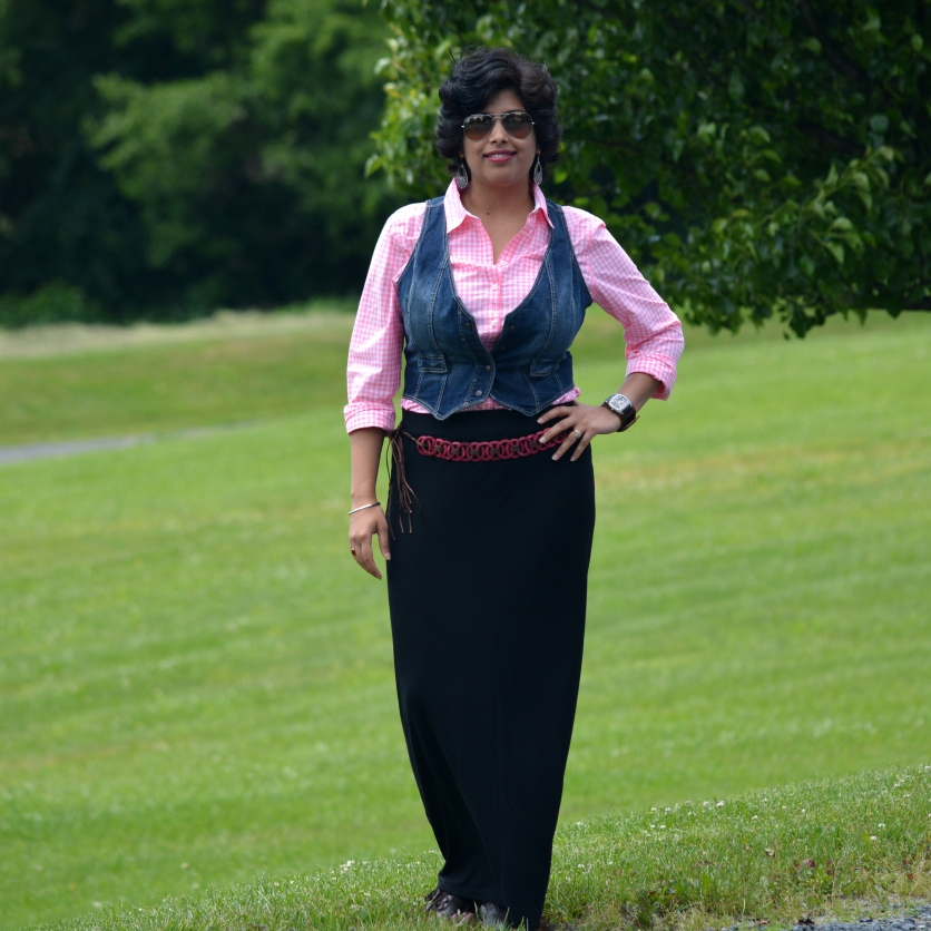 Loft Skirt, Mango Vest, JC Penny Shirt