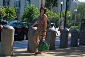 Forever 21 Dress, Leather Bag, Clarks Shoes