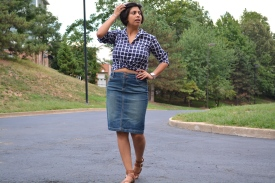 Knotted Shirt Denim Skirt