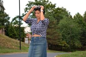 Knotted Shirt Denim Skirt