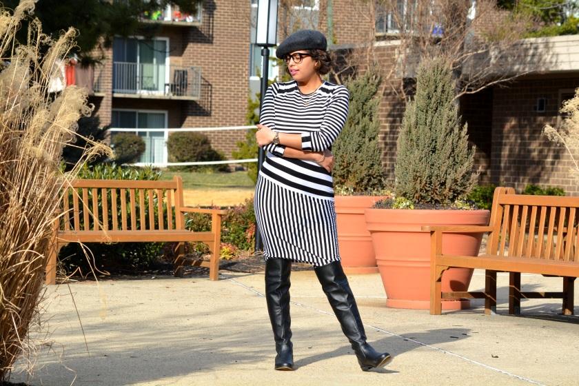 Asos Multi Stripe dress OTK boots