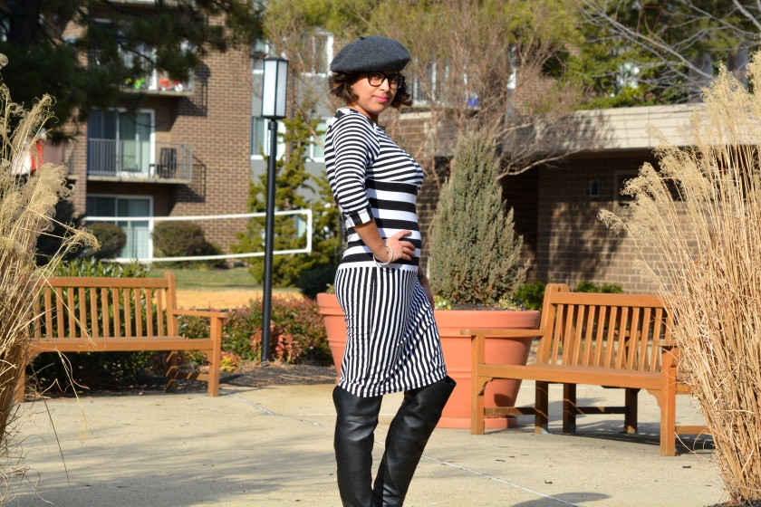 Asos Multi Stripe dress OTK boots