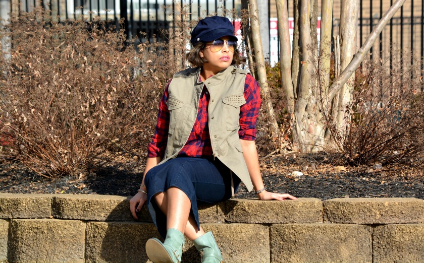 Denim Midi Skirt Plaid Shirt Army Vest