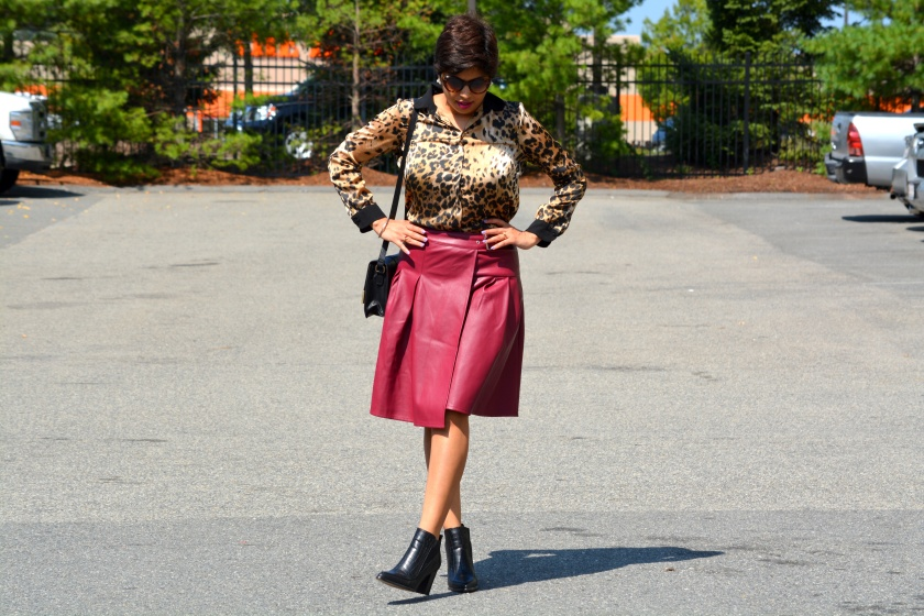 Leather Skirt, Boots, Cat Sunglasses, 1