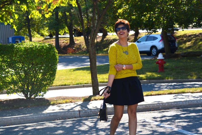 Net Top, Fall, Black Skirt, Pixie Hair, 3