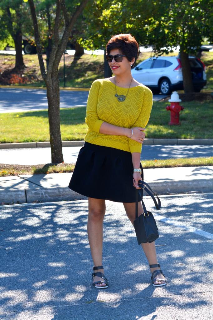 Net Top, Fall, Black Skirt, Pixie Hair, 4