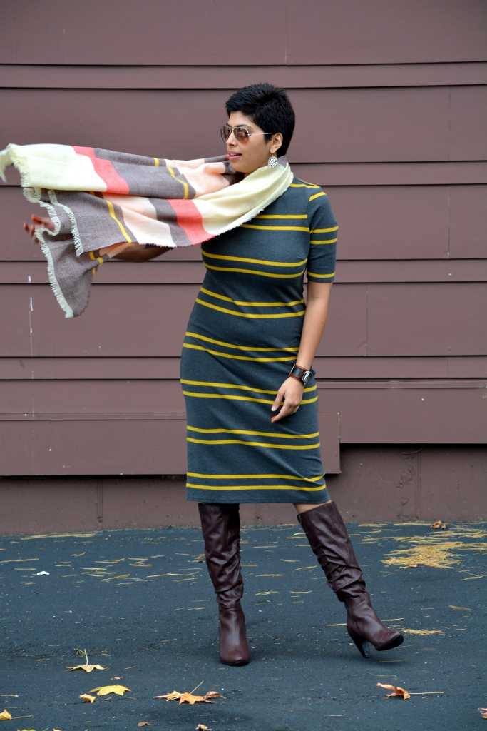 Stripe pencil Dress, Scarf, Long Boots, 2