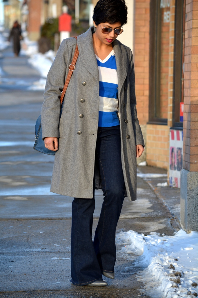 Stripes, Gray Coat, Flare Jeans, 1